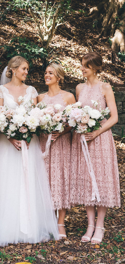 Dusty Pink Lace Sleeveless Tea Length Bridesmaid Dresses,DB128