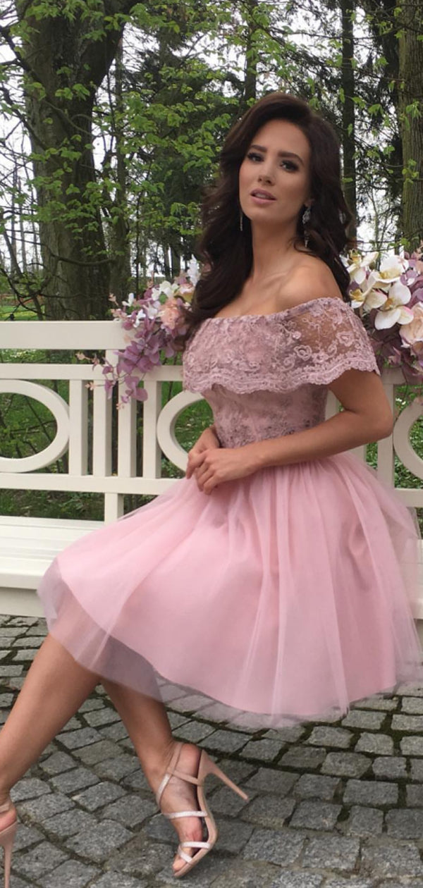 Dusty Pink Tulle Lace Off Shoulder Homecoming Dresses,BD0208