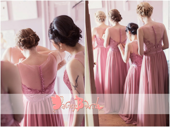 Dusty Rose Lace Top Chiffon See Through Neck Long A-line Bridesmaid Dresses,DB113