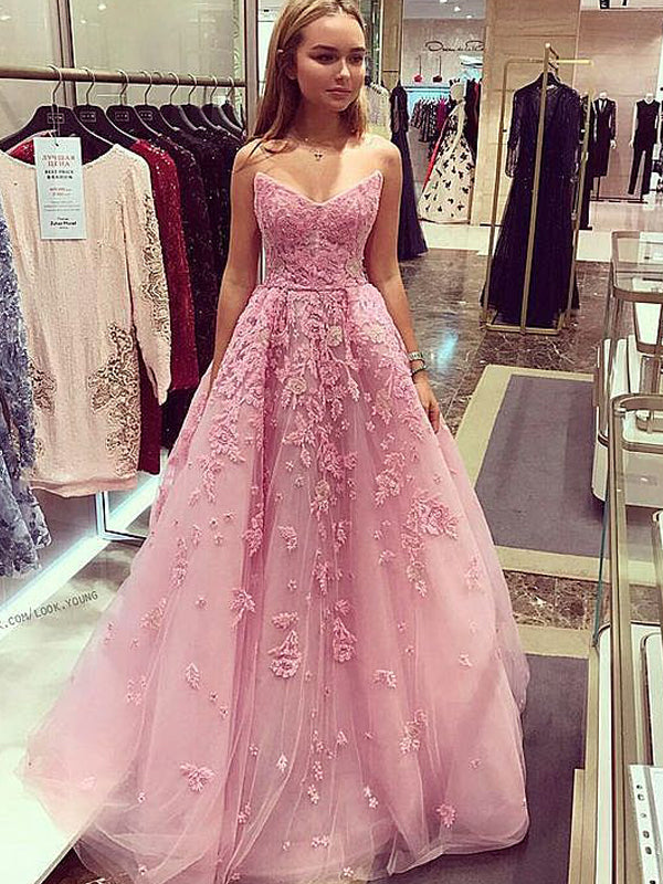 Dusty Rose Strapless Lace A-line Prom Dresses , DB1095