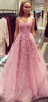 Dusty Rose Strapless Lace A Line Prom Dresses Db1095