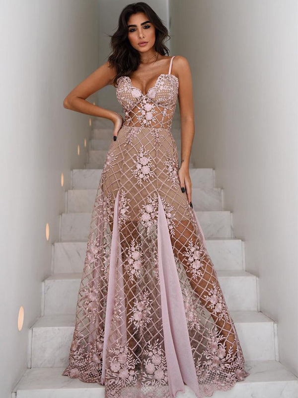 Dutsy Pink See Through Lace Spaghetti Strap A-line Prom Dresses, DB1115