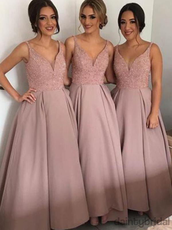 Elegant Deep V-Neck Floor Length Satin A-Line Bridesmaid Dress.DB10017