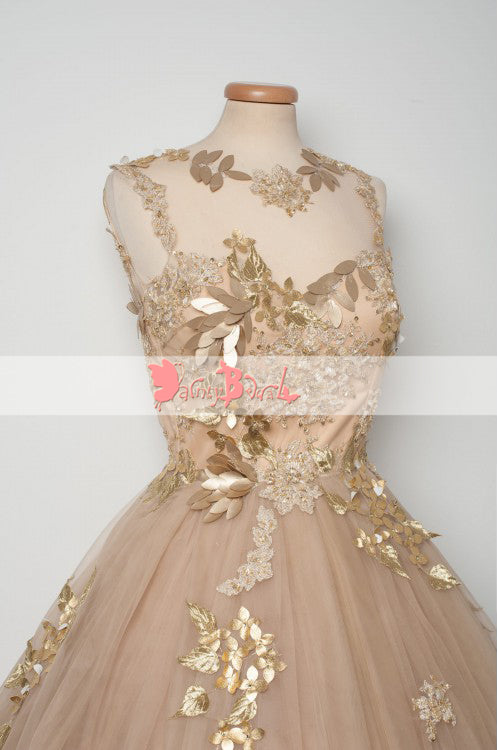 Elegant Gold Sequin Appliques Keyhole Back See Through Homecoming Dresses,BD0149