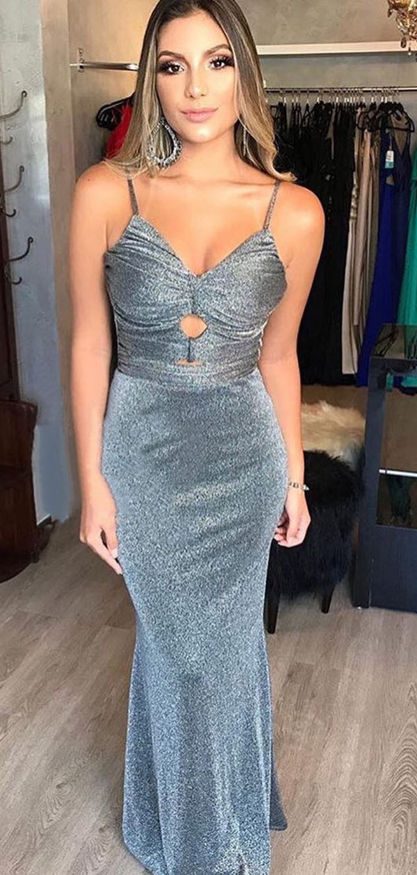 Elegant Grey Spaghetti Strap Tight Sheath Long Unique Prom Dresses, DB1114