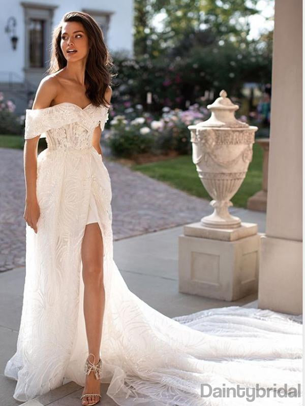 Elegant Off-shoulder Side Slit Lace With Appliques Wedding Dresses With Sweep Train.DB10138