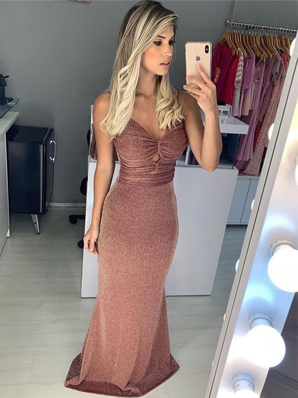 Elegant Spaghetti Strap Tight Sheath Long Unique Prom Dresses, DB1113