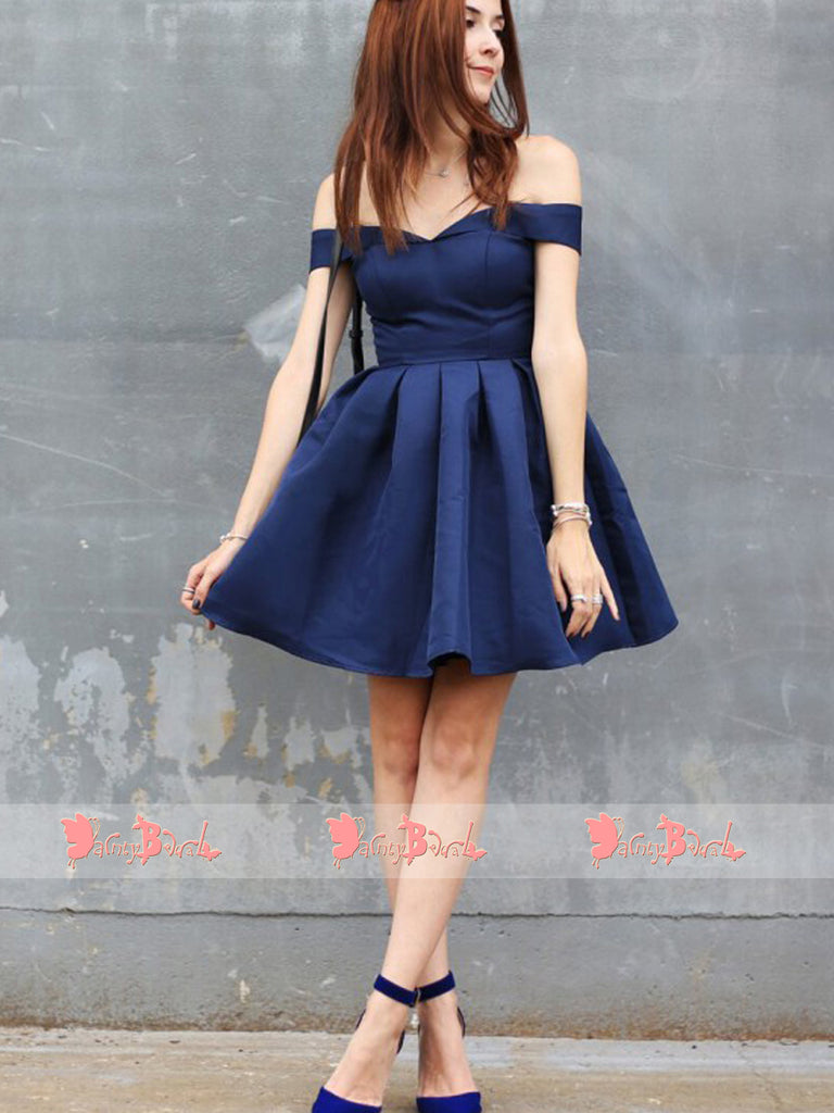 Fashion Off Shoulder Royal Blue Satin Simple Cheap Homecoming Dresses,BD0158