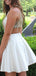 Fashion Satin Beading Applique Illusion Back Homecoming Dresses,BD0185