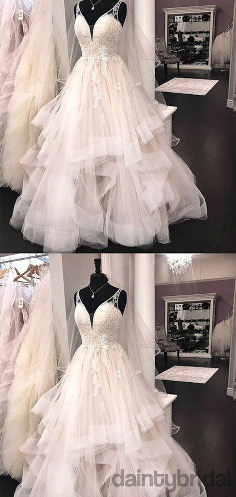 Popular V-Neck Spaghetti Straps Lace Tulle Ball Gown Wedding Dress.DB10016