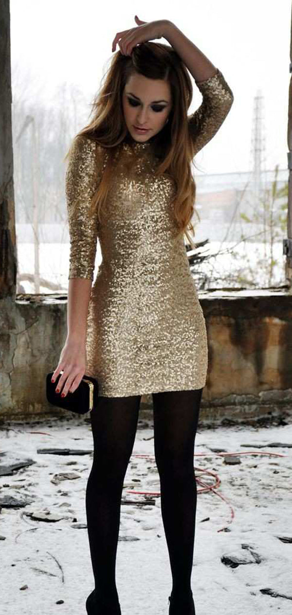 Gold Sequin Half Sleeve Tight Sheath Homecoming Dresses,BD0211