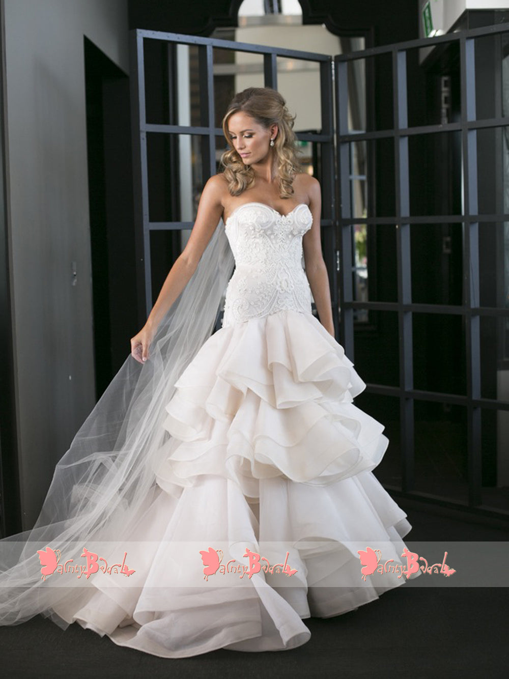 17d7bfac3461 Gorgeous Beads Lace Sweetheart Strapless Ruffles Tiered Organza Wedding  Dresses,DB0141