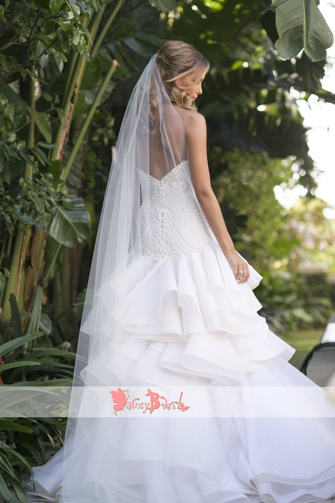 Gorgeous Beads Lace Sweetheart Strapless Ruffles Tiered Organza Wedding Dresses,DB0141