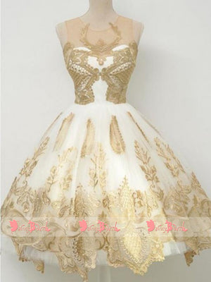 Gorgeous Gold Lace Appliques Cocktail Homecoming Dresses ,BD0152
