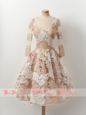 Gorgeous Lace Appliques Blush Pink Homecoming Dresses With Long Sleeves,BD0148