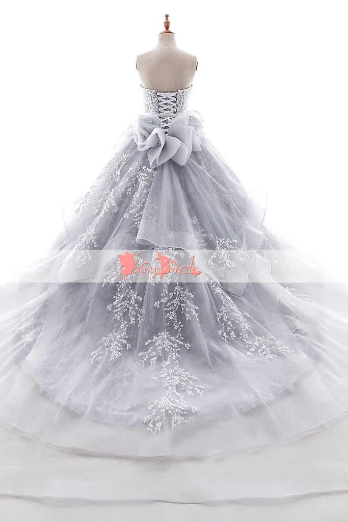 Gorgeous Light Gray Sweetheart Strapless Ball Gown Wedding Dresses,DB0133