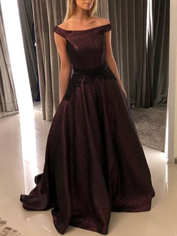 Grape Off Shoulder Ball Gown Simple Charming Long Prom Dresses, DB1117
