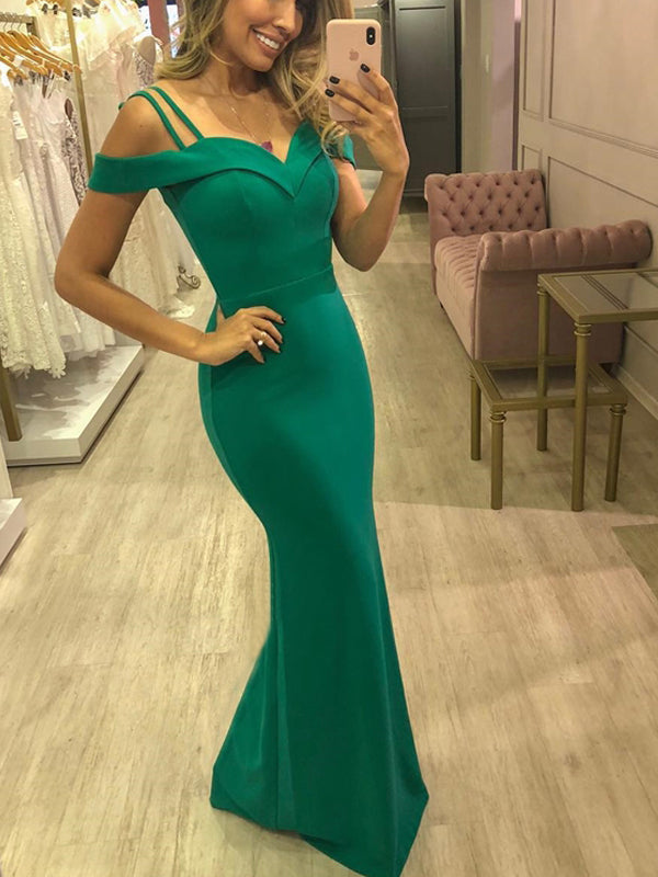Green Off Shoulder Spaghetti Strap Mermaid Long Elegant Prom Dresses, DB1120