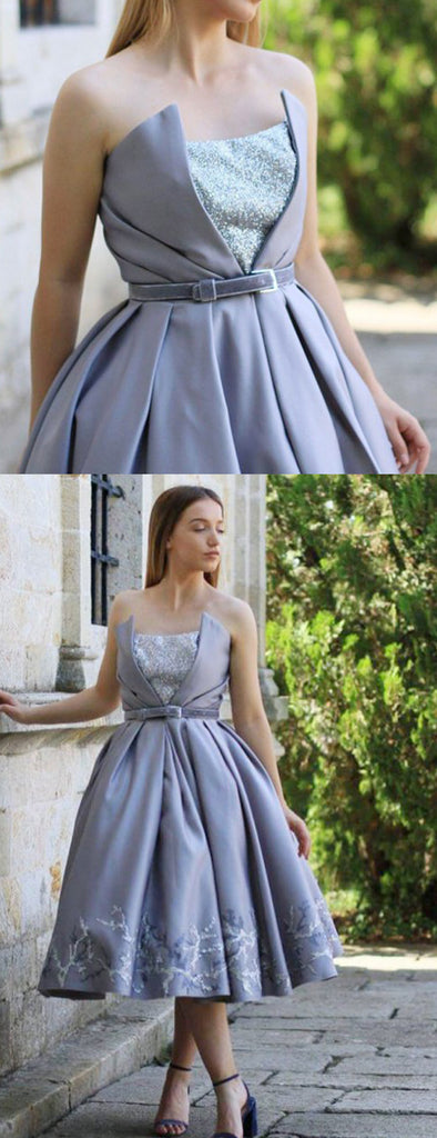 Grey Satin Appliques Strapless Ball Gown Knee Length Homecoming Dresses,BD0190