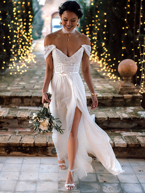 Ivory Lace Chiffon Off Shoulder V-neck Slip Beach Wedding Dresses,DB0173
