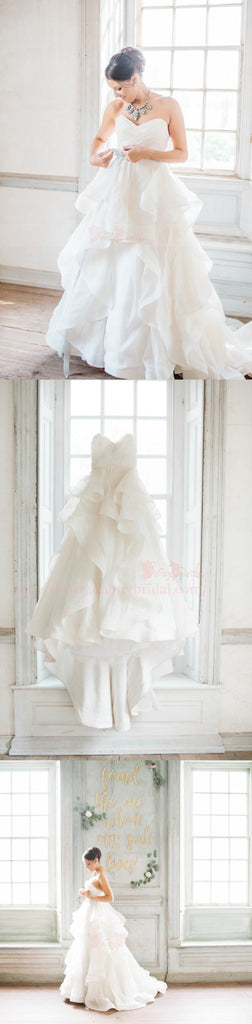 Ivory Organza Sweetheart Strapless Ruffles Ball Gown Wedding Dresses,DB0158