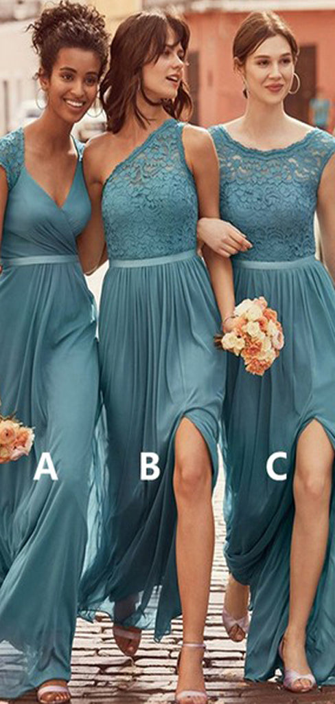 Jade Chiffon Lace Mismatched A-line Charming Long Bridesmaid Dresses,DB125