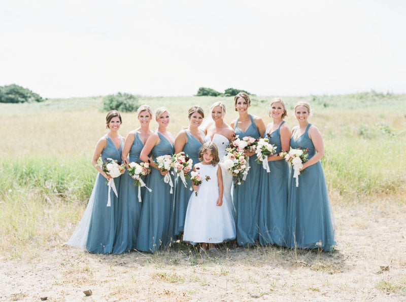 Jade Tulle V-neck Sleeveless Open Back Mismatched Long Bridesmaid Dresses, WG19