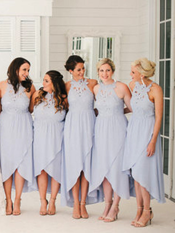 Lavender Lace Chiffon High Low Open Back Bridesmaid Dresses,DB140