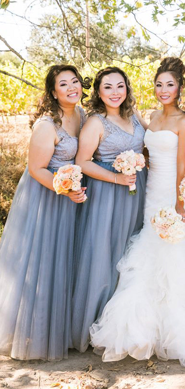 Lavender Tulle Lace V-neck A-line Long Bridesmaid Dresses ,DB138