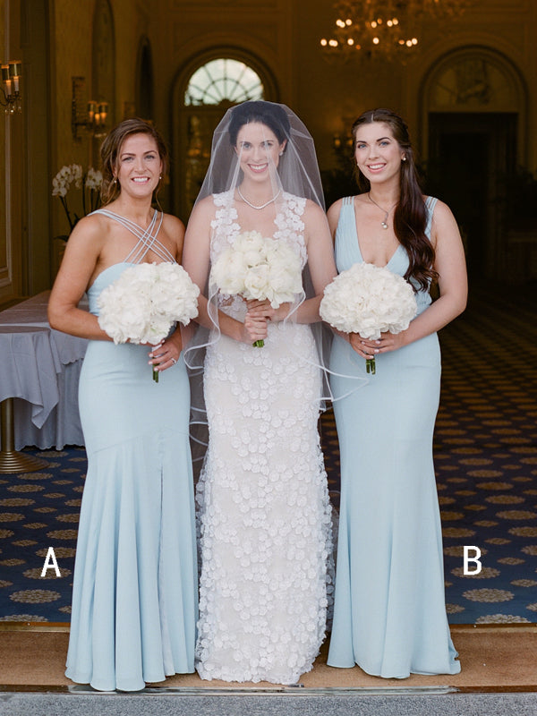 Light Blue Chiffon Mismatched Mermaid Simple Long Bridesmaid Dresses,DB136