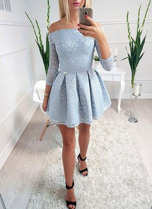 Light Blue Lace Off Shoulder Long Sleeve Simple Homecoming Dresses,BD0001