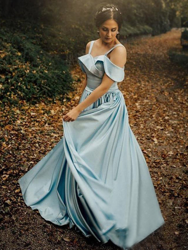 Light Blue Satin Simple Off Shoulder Prom Dresses, DB1084