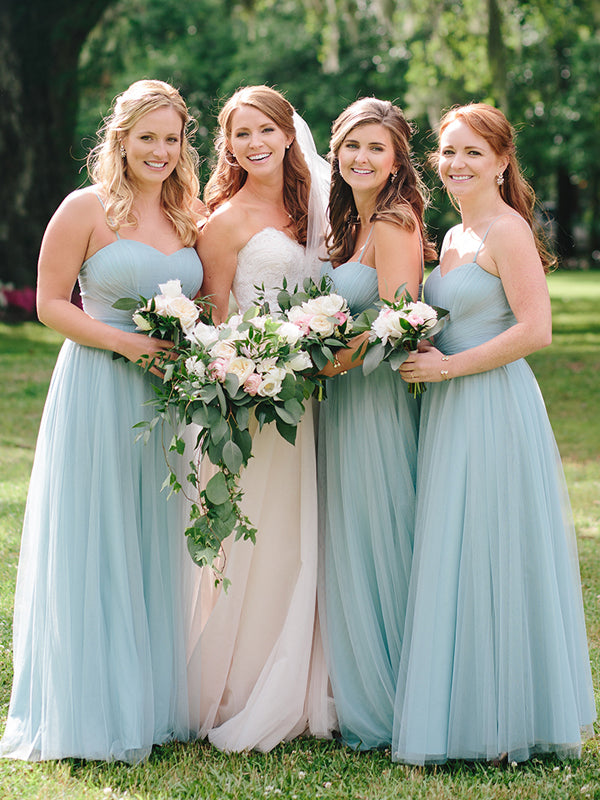 Light Blue Tulle Sweetheart Spaghetti Strap A-line Bridesmaid Dresses ,DB137