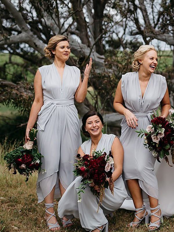 Light Grey Chiffon Cap Sleeve High Low Ankle Length Bridesmaid Dresses,DB131