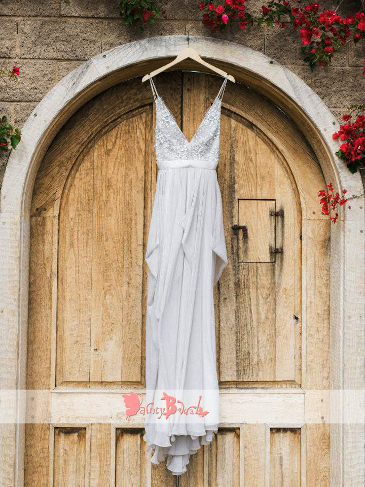 Light Grey Chiffon Rhinestone Backless Beach Wedding Dresses,DB0142