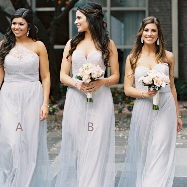 Light Grey Lace Tulle Mismatched Long A-line Bridesmaid Dresses,DB105
