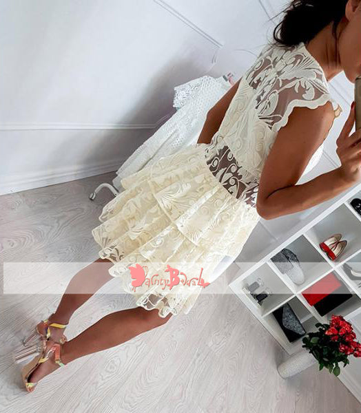 Light Yellow See Through Lace Tiered Bottom Cheap Homecoming Dresses,BD0155