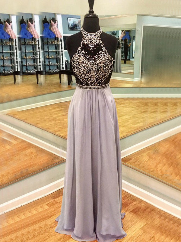 Lilac Chiffon Beading Halter Open Back Prom Dresses, DB1082