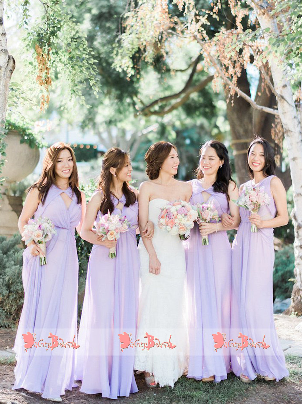 Lilac Chiffon Unique Neckline Sleeveless Long Bridesmaid Dresses,DB118