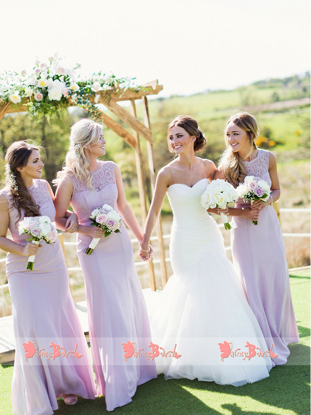 Lilac Lace Mermaid Sleeveless Elegant Long Bridesmaid Dresses,DB114