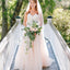 Long A-line Sweetheart Strapless Lace Tulle  Wedding Dresses. DB045