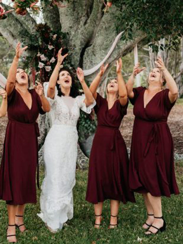 Maroon V-neck Half Sleeve Knee Length Bridesmaid Dresses,DB134