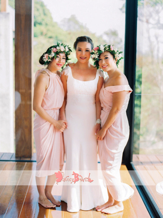 Mismatched Pink Jersey Tea Length Simple Cheap Bridesmaid Dresses,DB115