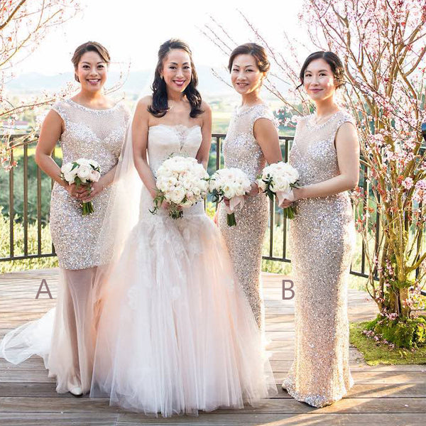 Mismatched Sequin Tulle Round Neck Cap Sleeve See Through Long Bridesmaid Dresses,DB104