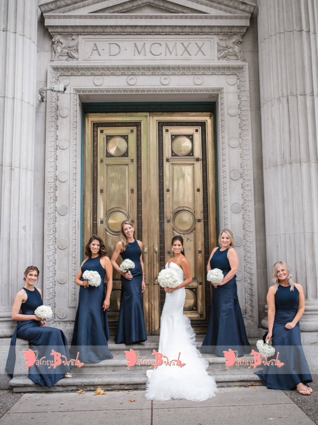 Navy Blue Satin Sleeveless Jewel Neck Mermaid Bridesmaid Dresses,DB116