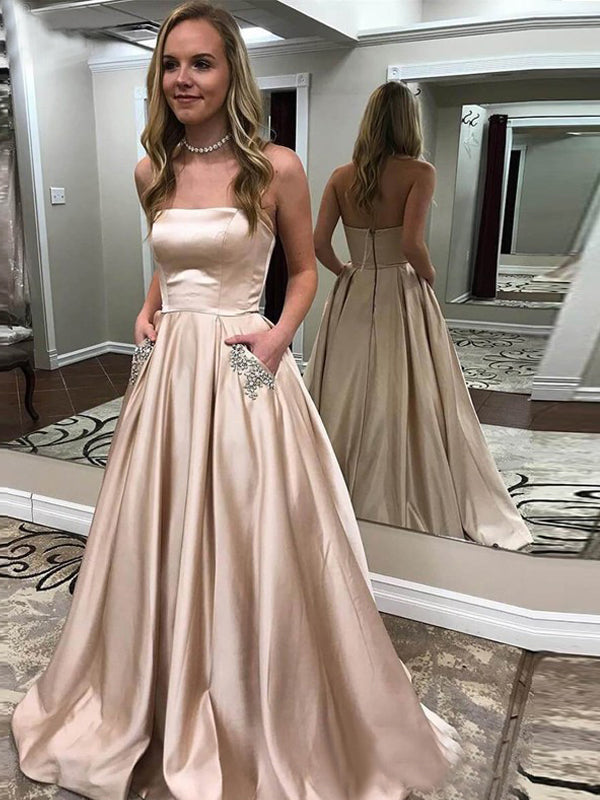 Nude Satin Beaded Pockets Strapless Ball Gown Sweet-16 Prom Dresses, DB1124