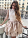 Nude Satin Lace Long Sleeve High Neck Tiered Petal Homecoming Dresses ,BD0179