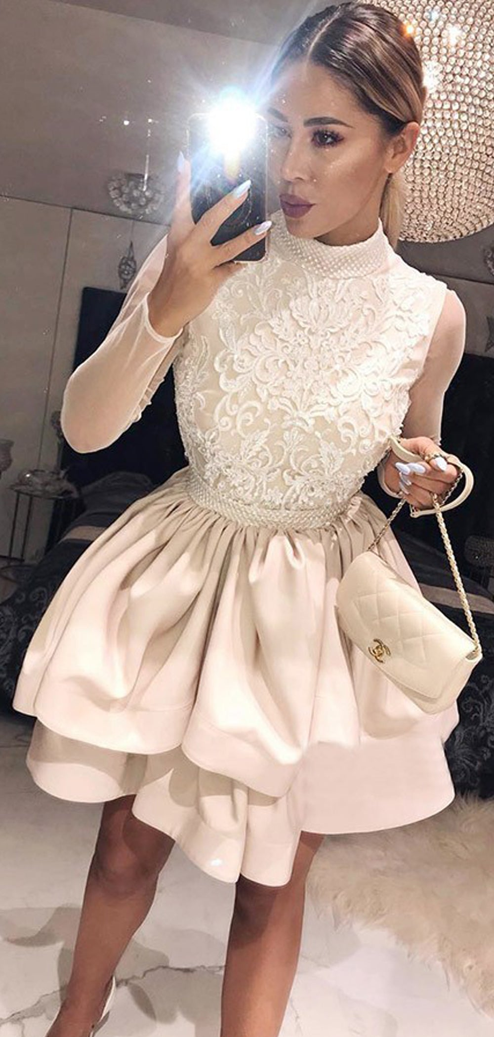 becad7758e7 A Line Scoop Long Sleeves Short White Lace Homecoming Dresses