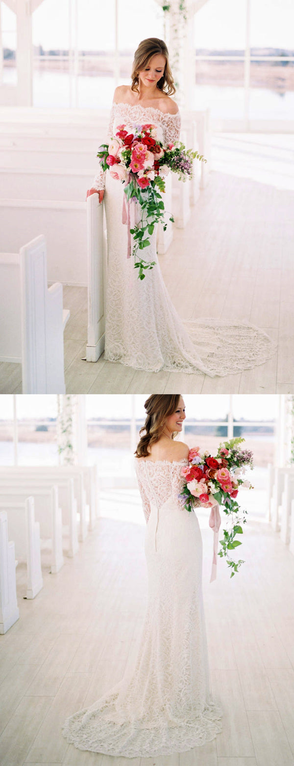 Off Shoulder Long Sleeve Lace Charming Wedding Dresses,DB0168