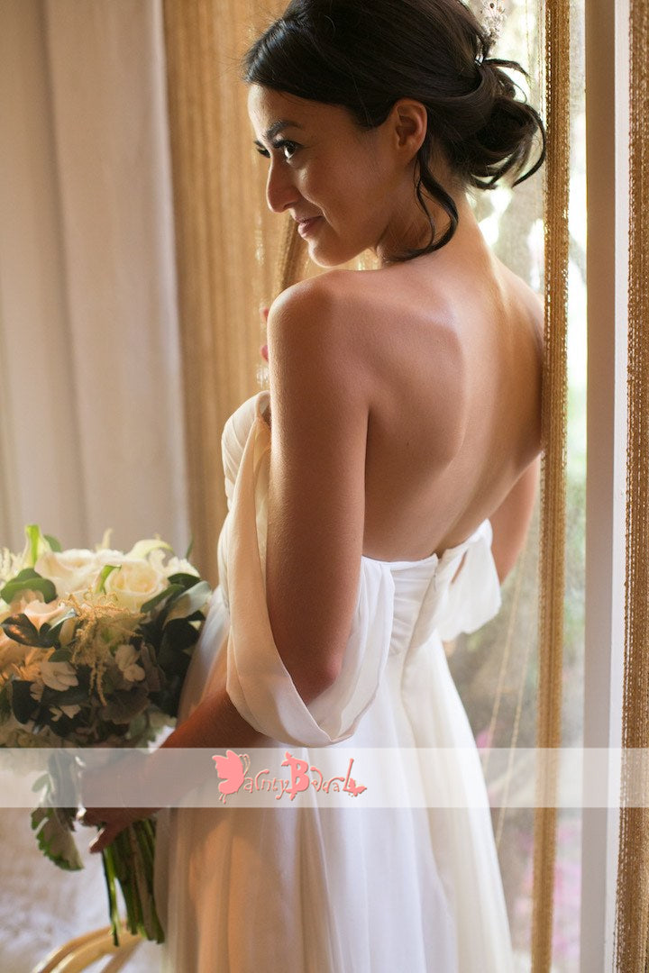 Off Shoulder Simple Chiffon Long A-line Beach Wedding Dresses,DB0146